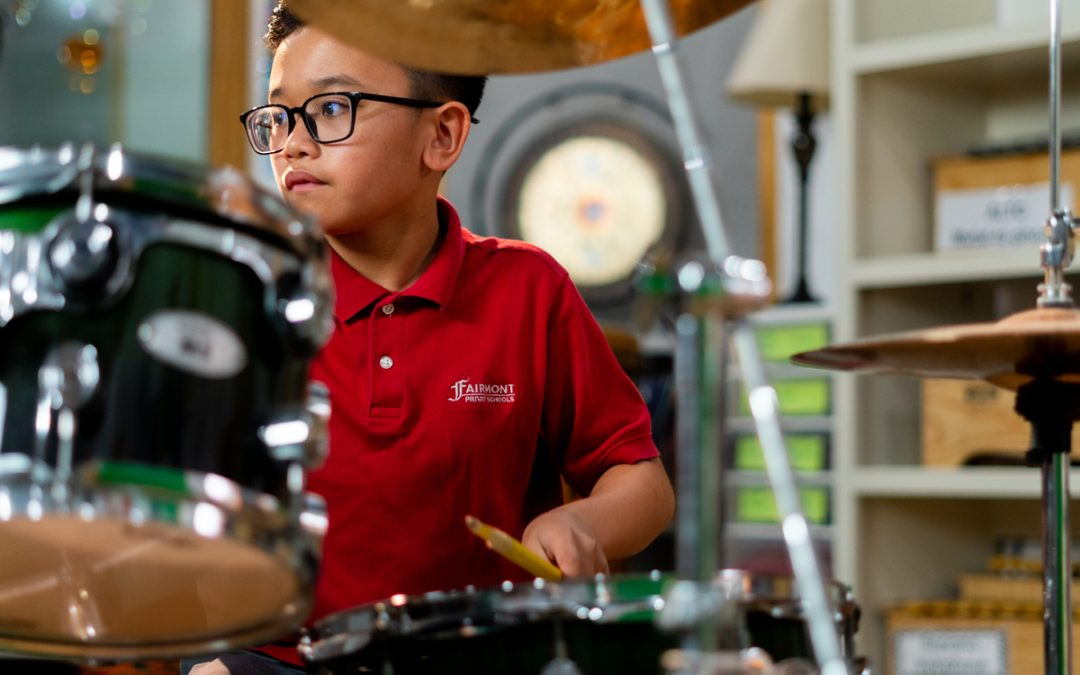 Fairmont Historic Anaheim Student Playing Drums